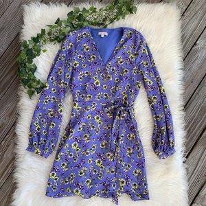 Gianni Bini Floral Long Sleeve Mini Wrap Dress